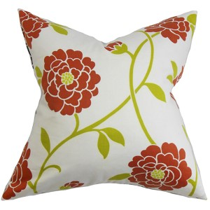 Graziela Red 18 x 18 Floral Throw Pillow