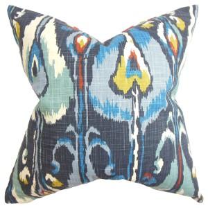 Gundrun Blue 18 x 18 Ikat Throw Pillow