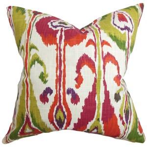 Gundrun Pink 18 x 18 Ikat Throw Pillow