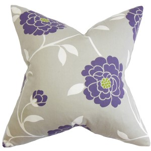 Graziela Purple 18 x 18 Floral Throw Pillow