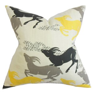 Naenia Yellow 18 x 18 Animal Throw Pillow