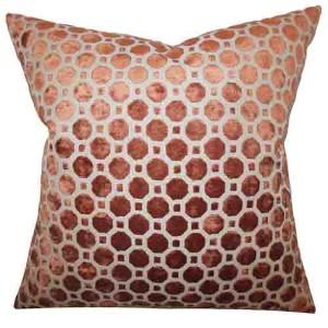 Kostya Copper and Orange 18 x 18 Geometric Throw Pillow