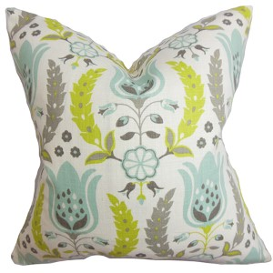 Eithne Gray and Green 18 x 18 Floral Throw Pillow
