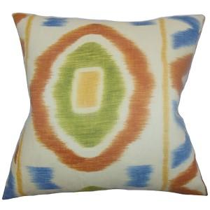 Rivka Green and Blue 18 x 18 Geometric Throw Pillow