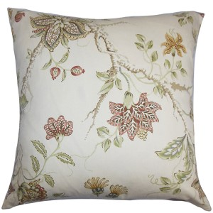 Ululani Red 18 x 18 Floral Throw Pillow