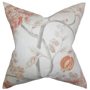 Ivria Orange 18 x 18 Floral Throw Pillow