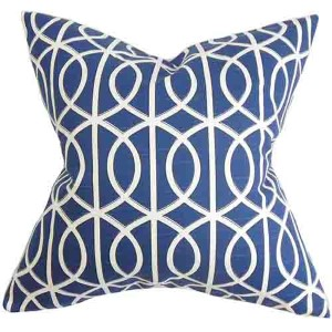 Lior Blue 18 x 18 Geometric Throw Pillow