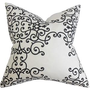 Fianna Black and White 18 x 18 Floral Throw Pillow