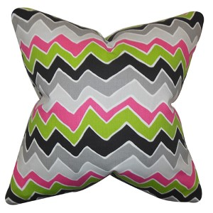 Achsah Green and Gray 18 x 18 Zigzag Throw Pillow