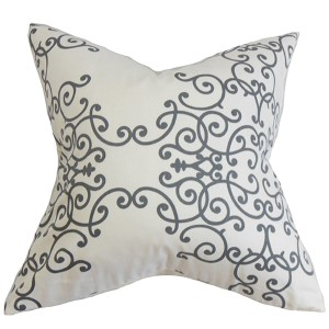 Fianna Gray 18 x 18 Floral Throw Pillow