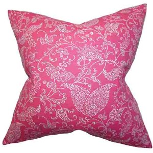 Aderyn Candy Pink 18 x 18 Paisley Throw Pillow