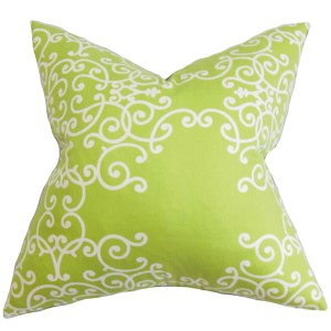 Fianna Green and White 18 x 18 Floral Throw Pillow