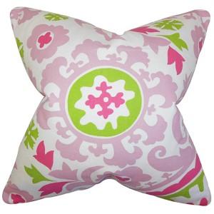 Wella Pink 18 x 18 Floral Throw Pillow