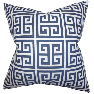 Paros Navy 18 x 18 Patterned Throw Pillow