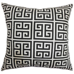 Paros Black 18 x 18 Patterned Throw Pillow