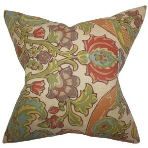 Kiriah Multicolor 18 x 18 Floral Throw Pillow