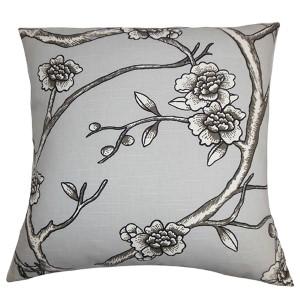 Tadita Gray 18 x 18 Floral Throw Pillow