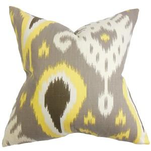 Bentshaya Gray 18 x 18 Ikat Throw Pillow