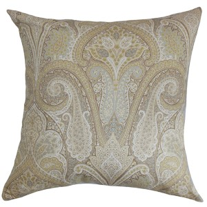 Zafrian Brown 18 x 18 Paisley Throw Pillow