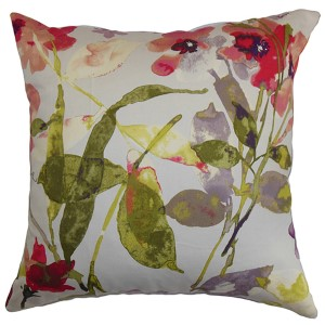 Naryany Red 18 x 18 Floral Throw Pillow