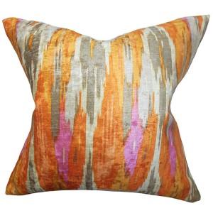 Ulyanka Orange 18 x 18 Geometric Throw Pillow