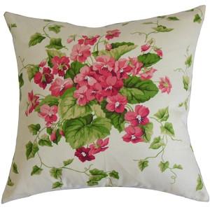 Haru Pink 18 x 18 Floral Throw Pillow