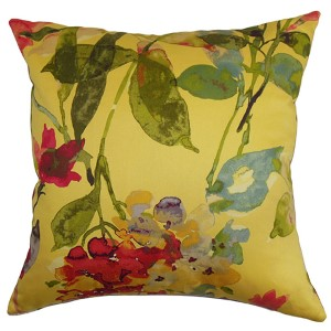 Naryany Yellow 18 x 18 Floral Throw Pillow