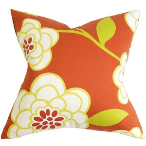 Junot Orange 18 x 18 Floral Throw Pillow
