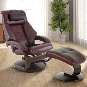 Oslo Mandal Recliner and Ottoman with Cervical Pillow in Merlot Top Grain Leather