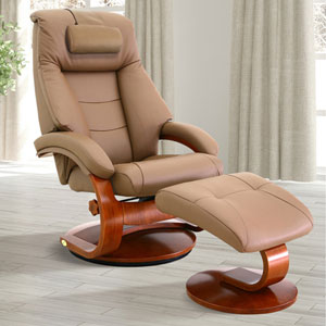 Oslo Mandal Recliner and Ottoman with Cervical Pillow in Sand Top Grain Leather