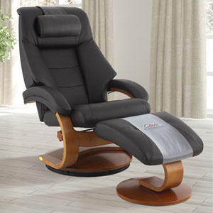 Oslo Mandal Recliner and Ottoman with Cervical Pillow in Espresso Top Grain Leather