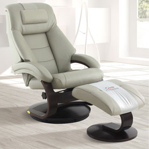 Oslo Mandal Recliner and Ottoman with Cervical Pillow in Putty Top Grain Leather