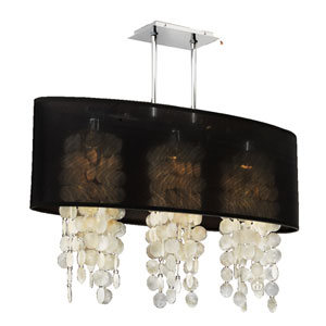 Soho Capiz Shell, Silver and Black 33-Inch Three-Light Linear Pendant