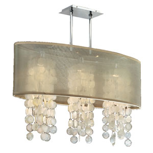 Soho Capiz Shell, Silver and Taupe 33-Inch Three-Light Linear Pendant