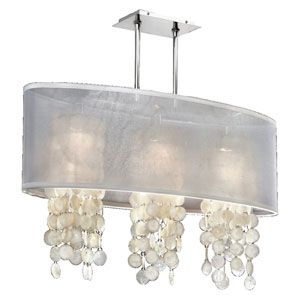 Soho Capiz Shell, Silver and White 33-Inch Three-Light Linear Pendant