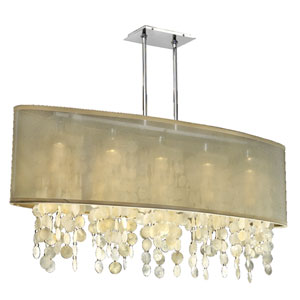 Soho Capiz, Silver and Taupe 45-Inch Five-Light Linear Pendant