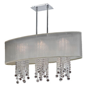 Soho Crystal, Silver and Taupe 33-Inch Three-Light Linear Pendant