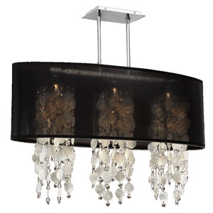 Soho Capiz Shell and Crystal, Silver and Black 33-Inch Three-Light Linear Pendant