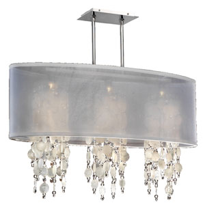 Soho Capiz Shell and Crystal, Silver and White 33-Inch Three-Light Linear Pendant