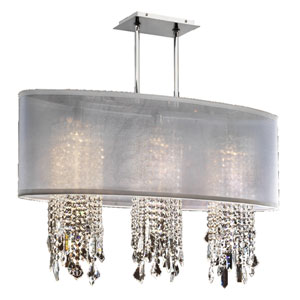 Soho Crystal, Silver and White 33-Inch Three-Light Linear Pendant