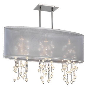 Soho Pearl and Crystal, Silver and White 33-Inch Three-Light Linear Pendant
