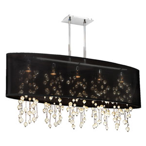 Soho Pearl and Crystal, Silver and Black 45-Inch Five-Light Linear Pendant