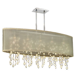 Soho Pearl and Crystal, Silver and Taupe 45-Inch Five-Light Linear Pendant