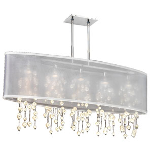 Soho Pearl and Crystal, Silver and White 45-Inch Five-Light Linear Pendant