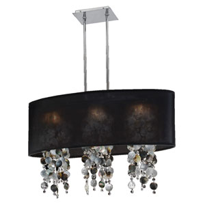 Soho Mother of Pearl and Crystal, Silver and Black 33-Inch Three-Light Linear Pendant