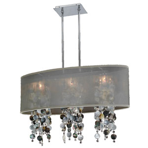 Soho Mother of Pearl and Crystal, Silver and Taupe 33-Inch Three-Light Linear Pendant
