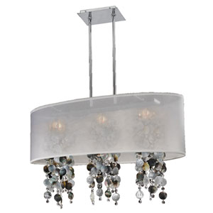 Soho Mother of Pearl and Crystal, Silver and White 33-Inch Three-Light Linear Pendant