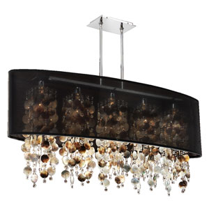 Soho Mother of Pearl and Crystal, Silver and Black 45-Inch Five-Light Linear Pendant