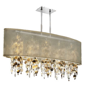 Soho Mother of Pearl and Crystal, Silver and Taupe 45-Inch Five-Light Linear Pendant