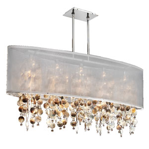 Soho Mother of Pearl and Crystal, Silver and White 45-Inch Five-Light Linear Pendant